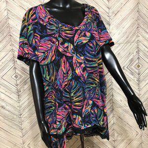 westbound women 2X multicolor leaf print cotton